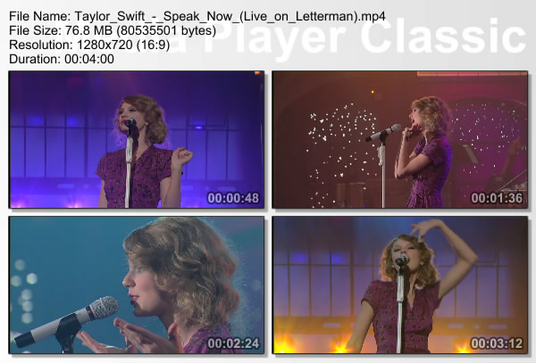 تیلر سویفت - Speak Now Live On Letterman HD